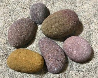 Natural and Minimalist Home Decor, Sea Stone Set - Colored Decorative Rocks, Pink, Marone, Sand Stones for Decoration, Terrarium, Aquarium