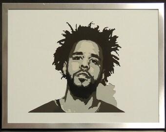 J. Cole Hip-Hop 5 Layer Framed Art