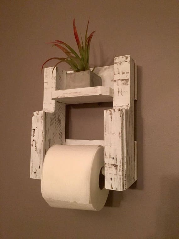 wooden toilet paper holder in distressed white rustic. Black Bedroom Furniture Sets. Home Design Ideas