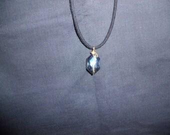Blue cut glass pendant