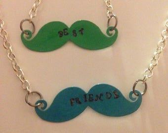 Best friends mustache necklace