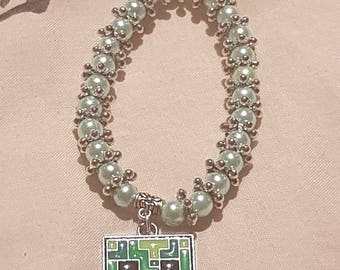 New kids 6mm Pearls Beads stretch bracelet with minecraft