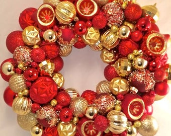 Red & Gold Christmas Ornament Wreath