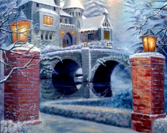 The lights of the castle. Canvas, oil. 70x50 cm. Alek Gross