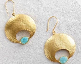 Green Druzy Gold Disk Earrings