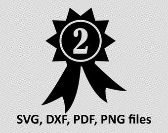 2nd Place medal SVG/ Medal DXF/ Medal Clipart/ Medal Files, printing design, Medal cutting, Medal silhouette, Medal vector, 2nd place medal