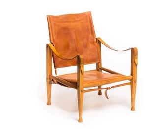 Mid Century original tan leather Safari Chair by Kaare Klint for Rud Rasmussen, Danish design, vintage
