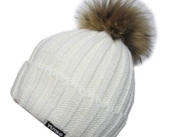 Trendy Fox Pom Wool Winter Women Beanie Skully Hat