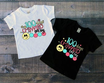 Children's 100 Day of School Tee Shirt, 100 days crawled on by, Kids 100th Day of School T-Shirt, Black White Tee, Infants, Toddler, Youth