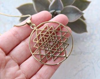 Sri Yantra brass necklace pendant.