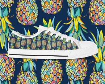 Pineapple Sneakers Custom Vans Custom Sneakers for Women Custom Trainers Custom Kicks Sneakerhead Tennis Shoes Pineapple Print Sneaker Art