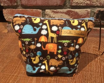 animals makeup bag, cosmetics pouch, toiletry bag, handmade