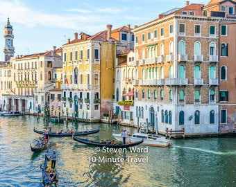 Venice Grand Canal with Gondolas and Palazzos