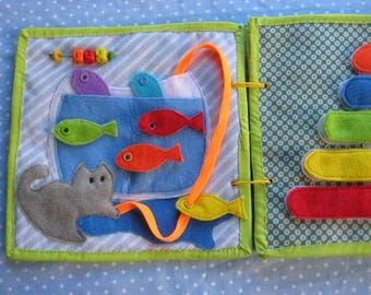 Quiet game, Cat and fish game, Felt  Animals Learning Toy,  Gift for Kid, game for ages 2-5