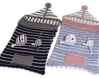 Baby Sleeping Bag with Whale Toys - Warm Alpaca and Wool Design - Peru - Pink - Blue - Boy - Girl - Hand Knitted
