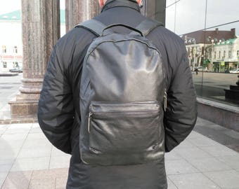 Black leather backpack Laptop backpack Briefcase backpack Men leather backpack Computer backpack College backpack