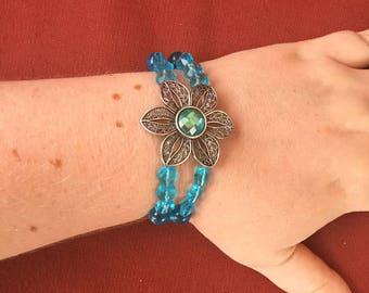 Blue flower double-strand bracelet! SHIPS IMMEDIATELY from USA! Gifts for her!