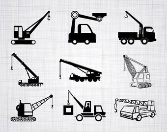 Crane Truck SVG Bundle Clipart Cut Files For