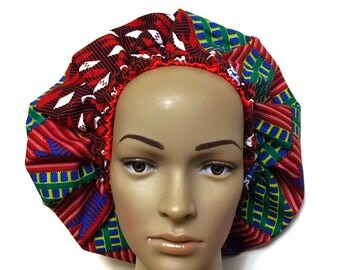 Satin lined Ankara bonnet, scrub hat, chef hat.