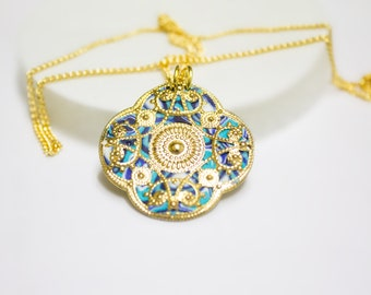 Turquoise Pendant Necklace,Israeli Gift,Mother's Day Locket,Floral Gold Lockets,Women delicate necklace,jewelry for her,Fine Gift,fine Art