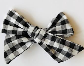 Black and White Gingham Bow | baby headband, hand tied bows, hair bows, nylon headband, alligator clip, oversized bow, pinwheel bow