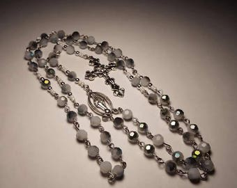 Handmade Glass Catholic Rosary Prayer Beads Free Personalization Christmas Baptism Communion Confirmation Wedding Gift