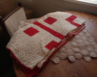 intage Crocheted Linens Hand-Made Arts and Crafts period