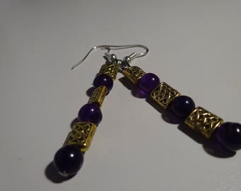 Purple and Gold Celtic Knot Earrings