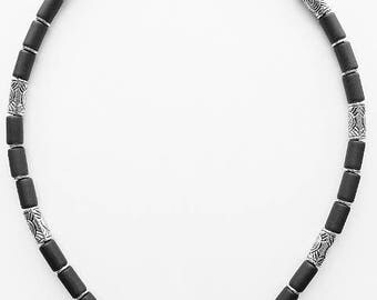 Palm Beach Men's Necklace Beaded Two-tone Chrome, Surfer Style Choker