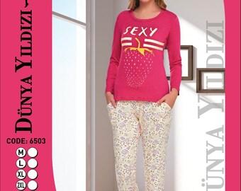 Coton pijama takım beden M L XL XXL