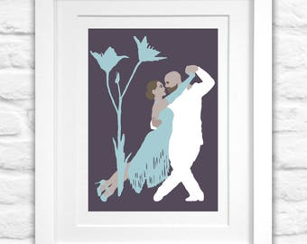 Dance Wall Art, Dancing Couple, Tango, Blue Flower, Giclée Print, Limited Edition, Home Decor, Gift for Dancers, Romantic Gift