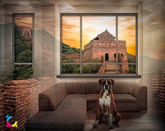 Boxer Dog printable illustration The Great Wall of China fantasy transitions room painting art