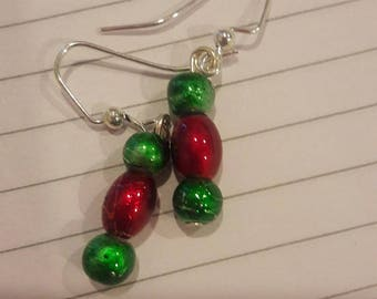 Green and red beaded earrings