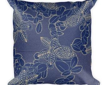Blue Petals Square Pillow