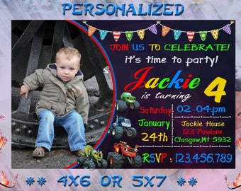 Blaze Birthday Invitation Printable, Blaze Invitation, Blaze Birthday Party Invites, Blaze and the Monster Machines