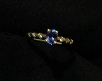 14K White Gold and Tanzanite  Ring, size 6 1/2