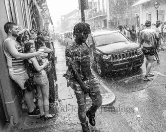 Fuck Your Rain - New Orleans 2016  Rain - Southern Decadence - Fine Art Photograph - Street Photography - Black and White - French Quarter