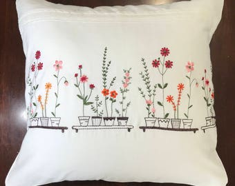 Embroidered cotton pillow cover White cushion pillowcase with orange, pink, red flower; Wedding, birthday, easter, housewarming gift