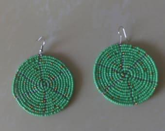African Maasai Beaded Dangle Earrings   Tribal earrings   Africa Jewelry   Ethnic earring   Round Earrings   Elegant Earrings   Gift for Her