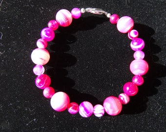 Beautiful Rose Banded Agate Bracelet