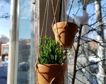 Mini Hanging Pots- Terracotta Macramè, Cacti Pots, Small Planters