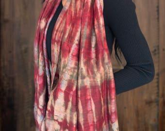 Tie Dyed Thai Silk Scarf - Red Claret   Burnt Beige