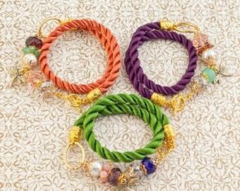 Cord and glass bracelets