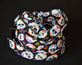 Handmade Adjustable Sugar Skull Dog Collars with Plastic Buckles XS S M L XL