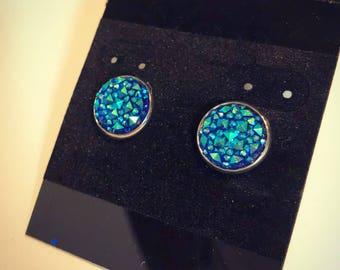 Dark blue jeweled chunky earrings