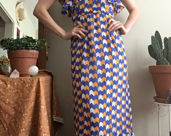 1970's Rodrigues blue and yellow chevron ruffle maxi dress • Vintage • Vintage Maxi Dress • Gown • Goddess • Retro • Vintage Designer • Boho