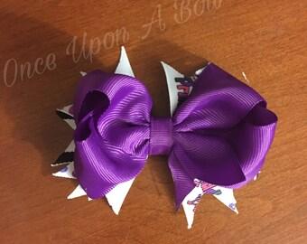 "Purple ""Princess"" Stacked Hair Bow"