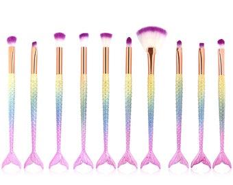 10 PCS Mermaid Makeup Brushes Set