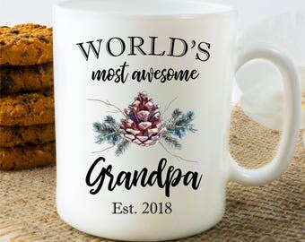 Grandpa Coffee Mug, Gift for New Grandpa, World's Most Awesome Grandpa, Customized Grandpa Coffee Mug, Grandpa Tea Mug, Present for Grandpa