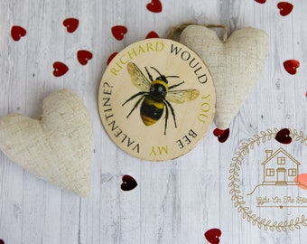 Valentines gift for him, valentines keepsake, fridge magnet, natural bee mine magnet, shabby chic gift, personalised valentines decor